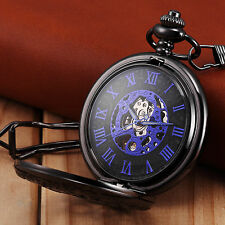 Vintage Skeleton Half Hunter Alloy Chain Mechanical Classic Mens Pocket Watch