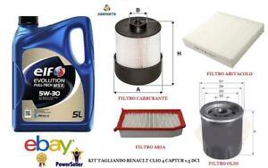 Kit tagliando 4 filtri olio ELF 5W30 per Renault Captur Clio 4 IV Dacia 1.5 DCI