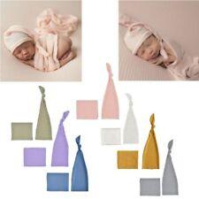 Newborn Photography Prop Infant Multi-color Sleepy Knit Sleepy Cap+Knit Wrap Set