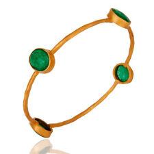 Green Aventurine Gemstone 925 Silver Sleek Bangle Bracelet Womens Jewelry