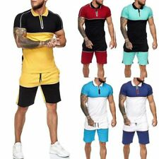 2pcs Men Tracksuits Short Sleeve Set Sport T-shirt And Shorts Suit Fitness Gym