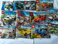 Lego Racers Polybags - Police Car, Blue Racer, Lime Green Racer, Pullback motor