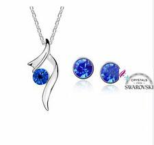 Set parure gioielli donna argento cristalli swarovski R originali zaffiro