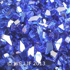 """15 LBS ~1/4"""" Cobalt Reflective Fireglass Fireplace Glass Rocks Fire Pit Crystals"""