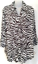 NEW Macys INC 2X Blouse Shirt Brown & White Zebra Stripes Crystal Buttons