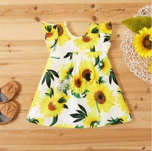 size  12-18 months girls dress new 100% cotton sunflower flutter sleeve dress