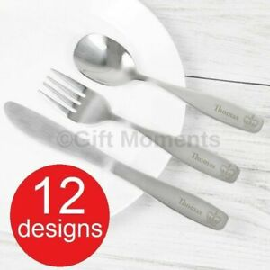 Personalised Engraved Childrens Cutlery Sets Boys & Girls Designs ADD ANY NAME