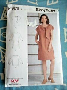 Simplicity K8878A shift dress & tunic pattern US size XS-XL