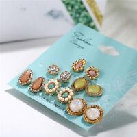 6 Pairs/Set Flower Crystal Stud Earrings Women Jewelry Dazzling Cubic Water Drop