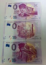 3x 0 euro souvenir Türkiye - UNC / TUAC/TUAG/TUAL - 3 pcs - DIFFERENT SERIAL
