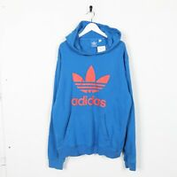 Vintage ADIDAS ORIGINALS Big Logo Trefoil Hoodie Sweatshirt Blue | Large L