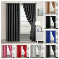 THERMAL BLACKOUT CURTAINS Eyelet Ring Top FREE Tie backs