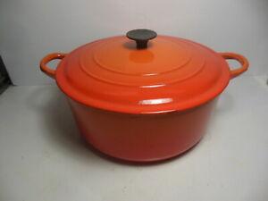 Le Creuset Enamel Cast Iron 4.5 Quart Dutch Oven Pot E Lid Orange Flame France