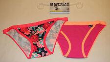 Bonds Ladies Hipster String Bikini Brief 2 Pack Print Plain 03K Size 14 New