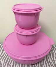 Tupperware Mixing Bowls Set Of 3 Pink w/ Matching Seals 27 & 4 Cups New