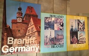 Lot of 3 LARGE Original Braniff Airlines Europe by 747 Posters Mounted on board.