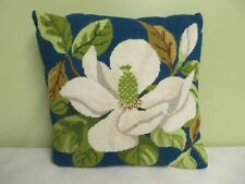 "Decorative Pillow Hand Made Needlepoint Wool front Flowers Gray 13"" X 13"" Nice"