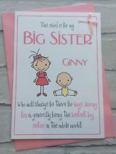 Handmade Personalised Big Sister Card (New Baby Congratulations or Birthday)