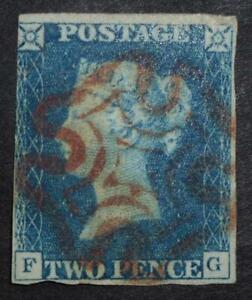 1840 2d blue plate1 (FG) red MX cancel
