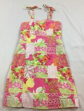 Lilly Pulitzer Girls 7 Years Pink Floral Fly By Patch Patchwork Halter Sun Dress