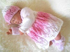 DK baby knitting pattern instruction girls matinee cardigan hat bootie set alice
