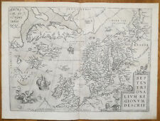 ORTELIUS Original Map Atlantic Ocean Iceland Greenland Frisia Scandinavia - 1573