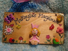 Personalised Princess Playhouse Wendy House Treehouse Sign Plaque Garden Flowers