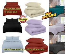 100 % Brushed Cotton Check Thermal Flannel Fitted/Flat Sheet 4Pc Bed Sheet Set