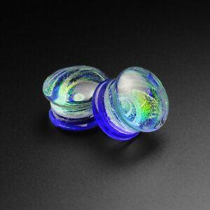 Glass Ear Plugs Gauges Blue Galaxy Swirl Glass Double Flare Plug