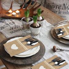 50x Natural Burlap Utensil Holders Knifes Forks Bag Cutlery Pouch Tableware Bags