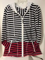 T By Talbots Womens Jacket Size X Full Zipper Striped w Pockets