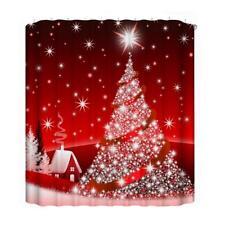 3D Digital Printing Christmas Tree Waterproof Bathroom Shower Curtain Bath Shade