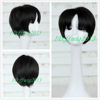 Attack on Titan Marco Rivaille Black Short Cosplay Anime Wig CC138+a wig cap