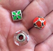 PANDORA Sterling 925 ALE Charm Lot of 3 Red Orange Enamel Hearts Green & Murano