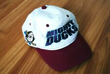 VINTAGE 90s ANAHEIM MIGHTY DUCKS CAP SNAPBACK HAT CAP NHL BIG LOGO TWILL WHITE