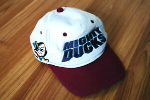 VINTAGE 90s ANAHEIM MIGHTY DUCKS CAP SNAPBACK HAT CAP NHL BIG LOGO TWILL WHITE