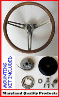 "New! 1970-1977 Mustang 15"" GRANT Wood Steering Wheel Cobra Center cap Walnut"