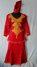 African Women Clothing Skirt Suit Dashiki Attire Red Free Size Print # 9323
