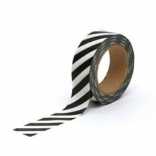 Washi Tape Black Diagonal Candy Stripes 15mm x 10m