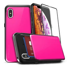For Apple iPhone Xr / Xs MAX Case Back slide Card Slot Full covered Glass Screen