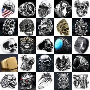 Titanium Skull Stainless Steel Mens Jewelry Men's Motorcycle Biker Punk Rings