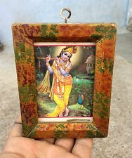 VINTAGE LORD KRISHNA PLAYING FLUTE IN FOREST PRINT- WELL FRAMED PICTURE