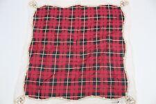 "Robert Stock Cotton Pocket Square Red Black White Plaid Equestrian Print 17"""