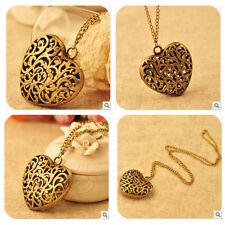 Retro Bronze Love Heart Hollow out Vintage Pendant Sweater Metal Chain Necklace