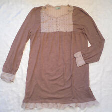 Sisley Womens Large Dress Shift Babydoll Long Sleeve Mini Pleated Ruffle Brown
