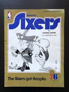 Philadelphia 76ers vs Atlanta Hawks Feb 25 1972 NBA Program Pistol Pete 19 PTS