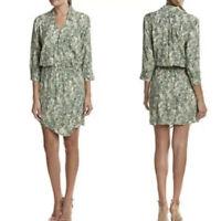 Cabi S Dress Faux Wrap Green Tropical Leaf Print V Neck Style 280 .