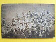 Carte Postale Photo GUERRE 14-18 MILITAIRES Poilus et Soldats Américains