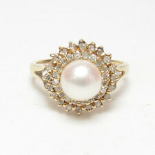 Estate 14K Yellow Gold 6.8 mm White Saltwater Cultured Pearl And Diamond Ring