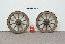 2x  vintage old wooden cart carriage wagon wheels wheel - 34 cm